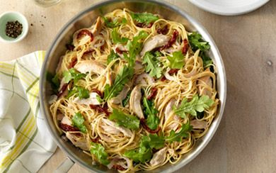 Looking for an authentic Italian recipe? Try Barilla's step-by-step recipe for Simple One Pan Spaghetti with Rotisserie Chicken for a delicious meal!