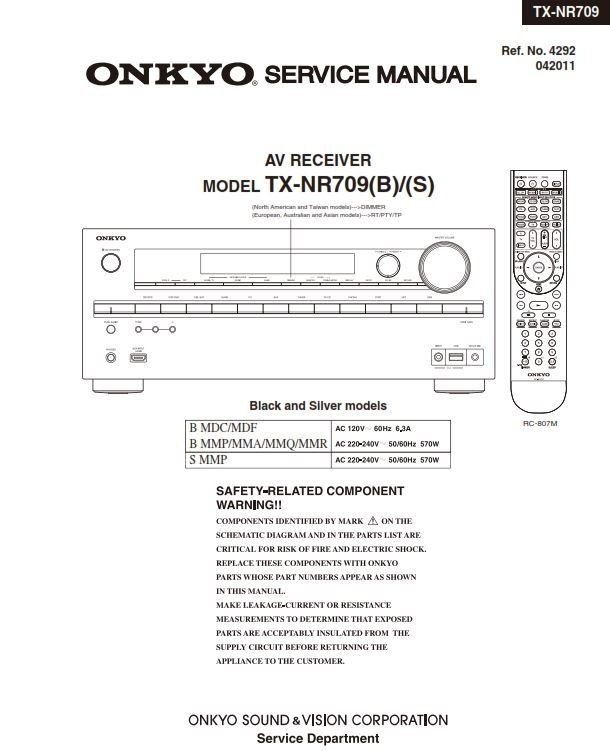 Onkyo TX NR709 AV Receiver Service Manual and Schematics | Onkyo
