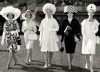 #vintage ladies at the Melbourne Cup 1963 - ✯ www.pinterest.com/WhoLoves/Melbourne-Cup ✯ #MelbourneCup #TheRaceThatStopsANation