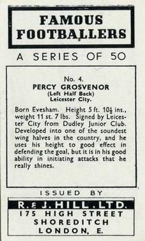 1939 R & J Hill Famous Footballers Series 1 #4 Percy Grosvenor Back