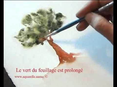 """Pour bien débuter à l'aquarelle """" http://www.atelieraquarelle.org/cours/vegetation/photo_saison/arbre-ete.php """". Peindre un arbre en été. Aussi, découvrez su..."""