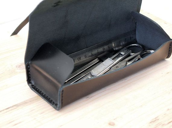 All Black Leather Pencil Case by AndreyAndShay on Etsy