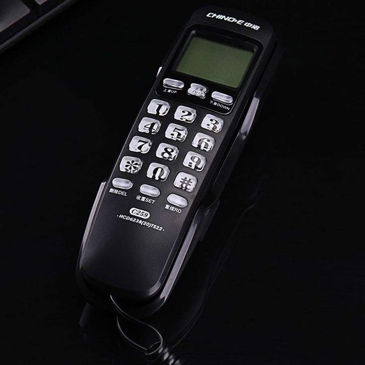 Wall Fixed Telephone call ID Hotel Bathroom Home Business Office Telephone Landline Extension Small Black