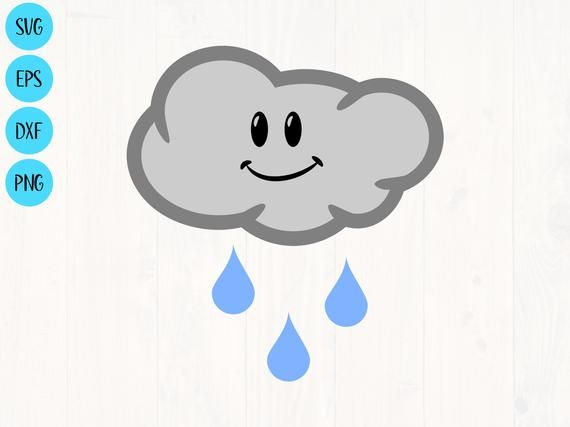 Cute Rain Cloud Clipart Svg Png Eps And Dxf Cute Raincloud Etsy Etsy Svg Files Clip Art Rain Clouds