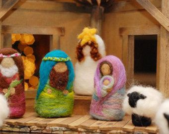 Nativity Set for Children: Needlefelted Wool (10 Pieces, Custom Made to Order)