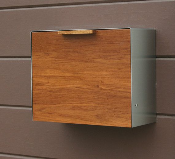 Moderne Postfach groß, Teakholz und Edelstahl Briefkasten, Postfach Wand