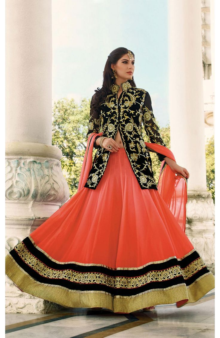 Marvellous Orange Georgette #Party Wear Un-Stitched Girlish #Lehenga. #stylish #fashion at Rs. 6855/- details @ http://goo.gl/5b23zB