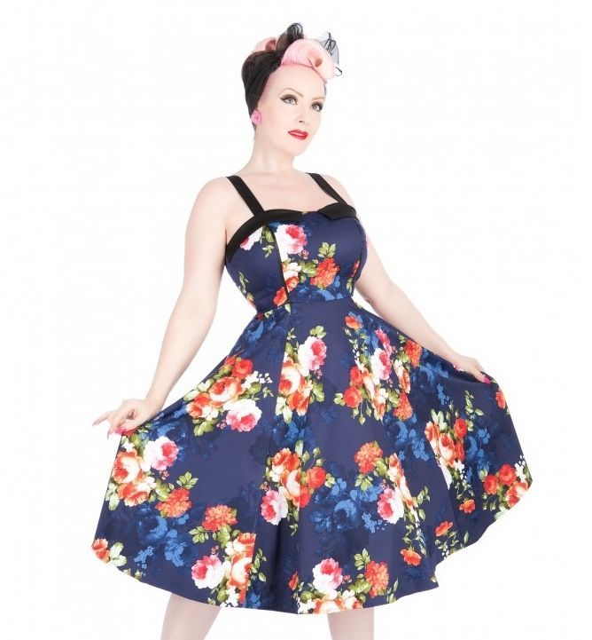H&R London Navy Floral Long Dress Rockabilly Pinup Vintage Hearts and Roses