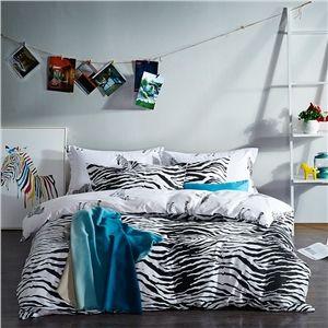 tomber en amour avec le zèbre Simple coton denim Série de literie en noir et blanc Coton chaud de quatre ensemble 160*210cm