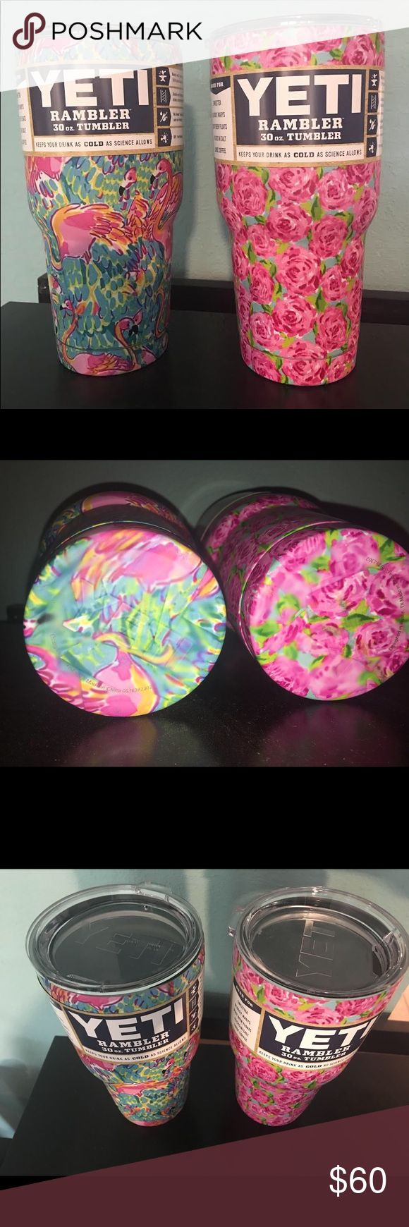 Flamingo Yeti Roses Yeti Combo Pack 30oz Rambler ❤️.You will receive both cups in this listing unless you specify that you were just making an offer on one!  Lilly Pulitzer look!  If you would like just one, comment that style and MAKE AN OFFER!  But why not get both and maybe even gift one to your BFF?  ❤️ Yeti Accessories