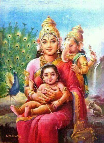 Mata Parvati, Ganesha and Kartikeya
