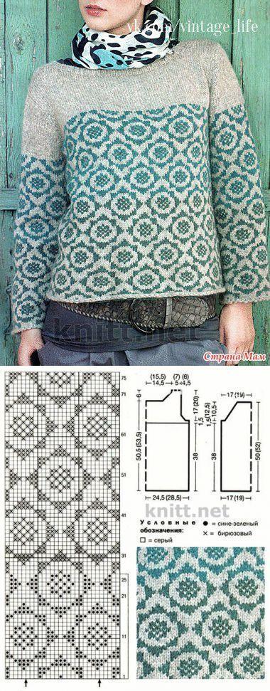 Mens Sweater Knitting Patterns Жаккардовый свитер - Вязание - Страна Мам