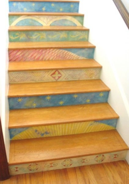 Laurel Murals has some of the most clever and whimsical stairway designs. (Or could I do something like this with muted acrylics?)