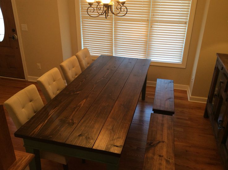 Finished Farm Table Pine Top Distressed And Burned