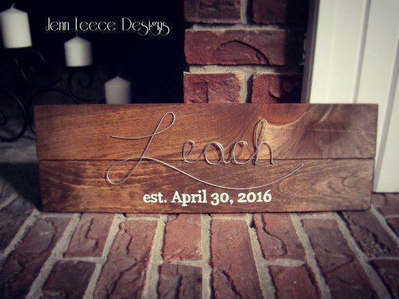 Last Name / Name Wire and Wood Sign / Painted by JennLeeceDesigns