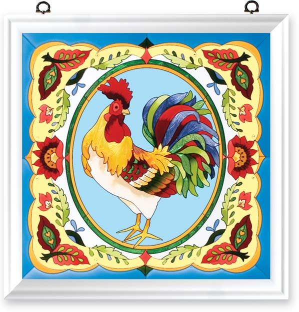 rooster painted glass window panel