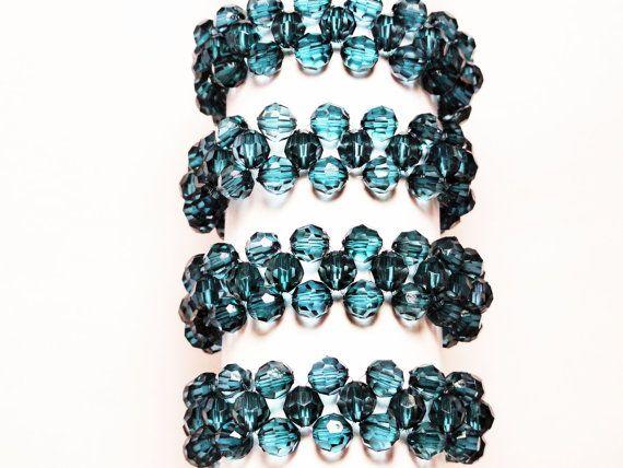 Beaded napkin rings  emerald napkin ring  by handmadeintoronto, $20.00