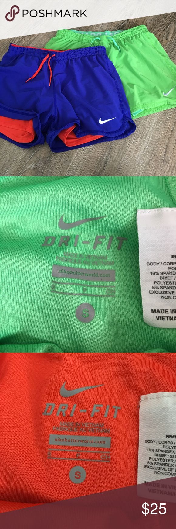 Nike dri-fit phantom 2-in-1 running shorts Size small Nike dri-fit shorts, both with attached spandex: green with green (has slight mark on front right), blue/purple with orange/red * originally $40 each Nike Shorts