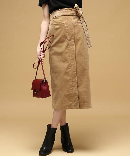 ROPE' mademoiselle(ロペマドモアゼル)の「《予約》コーディロイスリットミモレスカート(スカート)」 ベージュ
