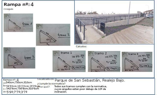 Con esta gran rampa, situada en un parque infantil de San Sebastian, seguimos el mismo proceso que con la rampa 1, pero esta vez, lo dividimos en 3 tramos. Nuestros resultados: Tramo 1: 540 cm/5.9 grados. Tramo 2: 750 cm/7.7 grados. Tramo 3: 310 cm/3.7 grados. La horizontal total mide, aproximadamente, 1610.7 cm