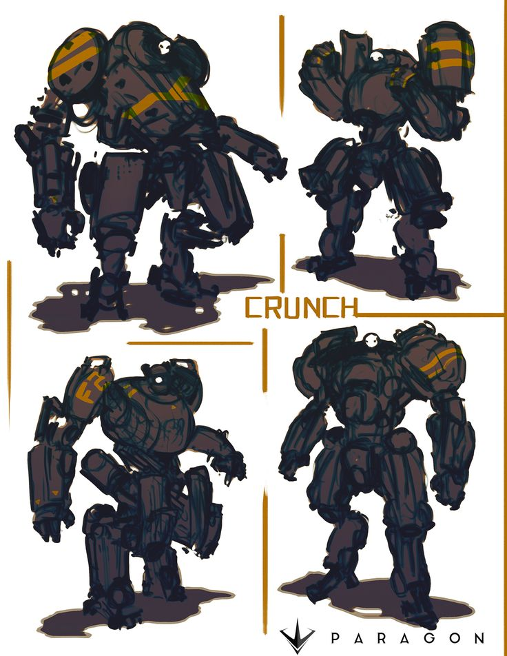 """Concept Art I did for Paragons new hero """"Crunch""""  The rest of the team did an awesome job on this guy! check out his in game release trailer here if your interested https://www.youtube.com/watch?v=CPVkHJNdHt8  Big thanks to Ben Shafer for scribbling some graffiti for this guy on my whiteboard :)"""