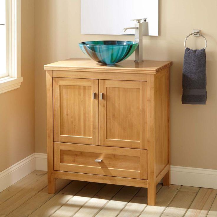 Bathroom. unfinished oak wood bathroom vanity cabinet with drawer and cabinet storage combined with blue bowl vessel sink. Enchanting Unfinished Bathroom Vanity