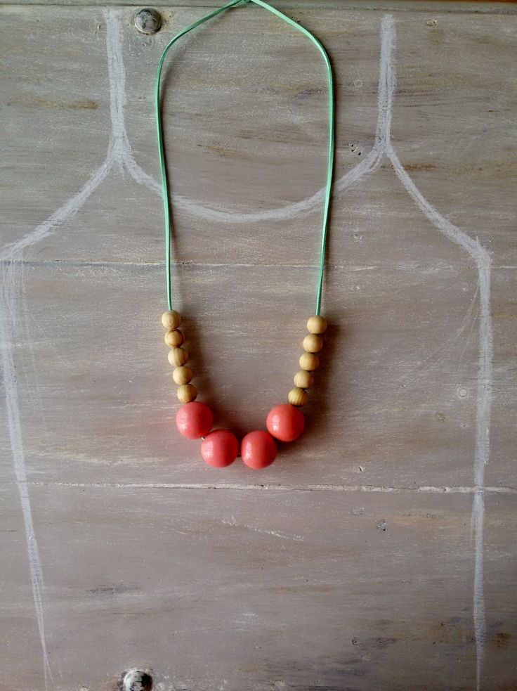 Chunky wooden bead necklace. 30mm wooden bead necklace.pink shiny wooden beads on a green suede cord by MerakibyStevie on Etsy