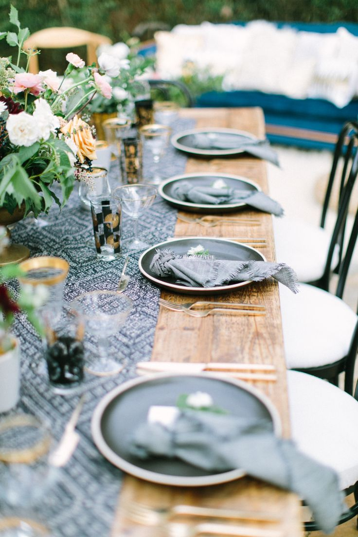 106 best blue wedding images on pinterest weddings blue weddings alfresco tablescape with bohemian navy table runner and gold tabletop accessories photography the grovers junglespirit Images