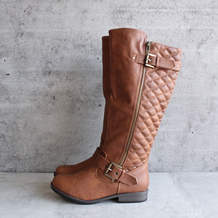 cognac quilted riding boot - shophearts - 1