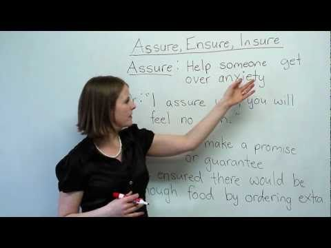 "Free English Vocabulary/Grammar Video Lessons with Quiz - ""Assure, Ensure, Insure"""