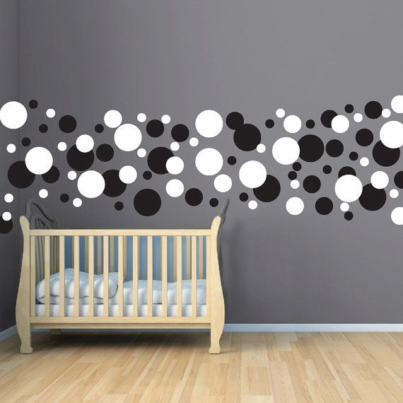 Polka Dot Circles Wall Decal - Childrens Circle Wall Art - Vinyl Sticker Polka Dots - Modern Nursery Wall Set - Mural - CN120