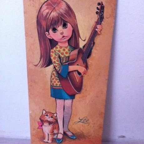 Retro print girl with guitar by Lee / vintage prent meisje met gitaar van Lee