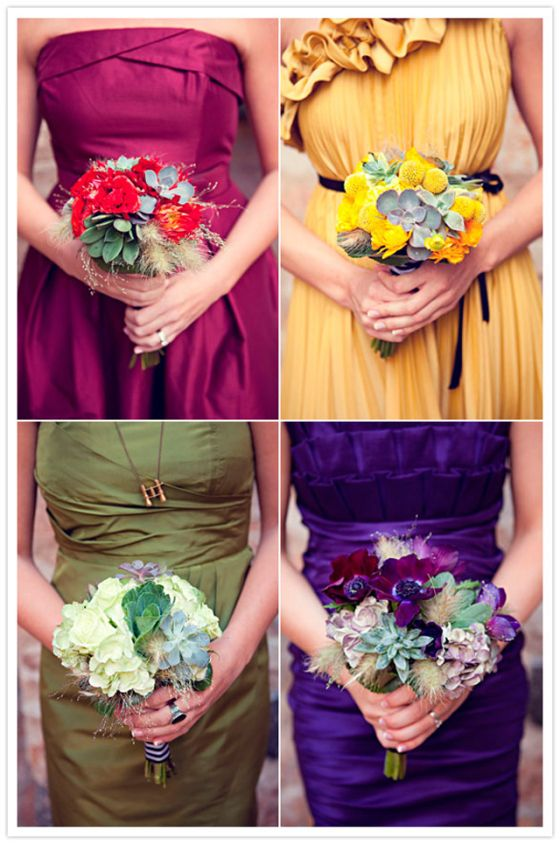 I like these mismatched bridesmaids colors for a jewel tone wedding. I would switch up the bouquets, though, so the flowers don't blend in so much.