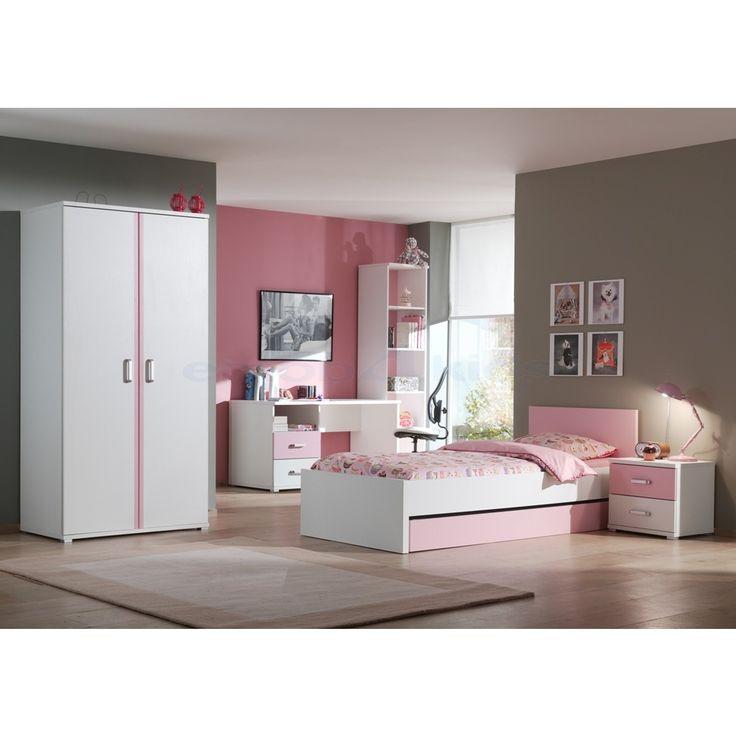 Leuke kleurencombinatie roze en wit met vrouwelijke kinderkamer tot gevolg. #Kinderbed #Kledingkast #Meisjes #Slaapkamer