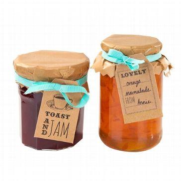"""Dekorations-Set für Marmeladen-Gläser als niedliches Gastgeschenk für Deine Gäste zum Hochzeitsthema """"Vintage Rustikal"""""""