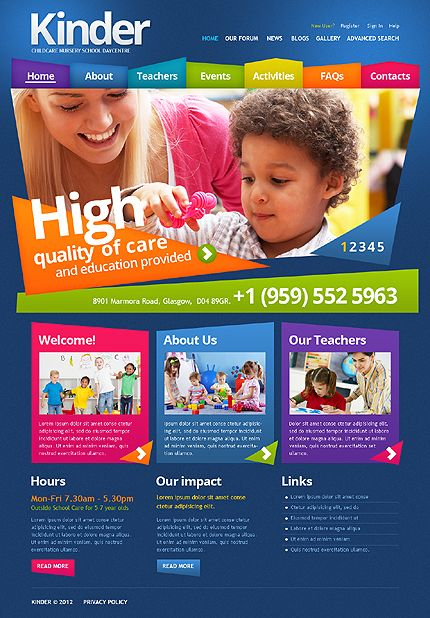 Template 43465 - Kindergarten, Childcare or Nursery Drupal Website Template