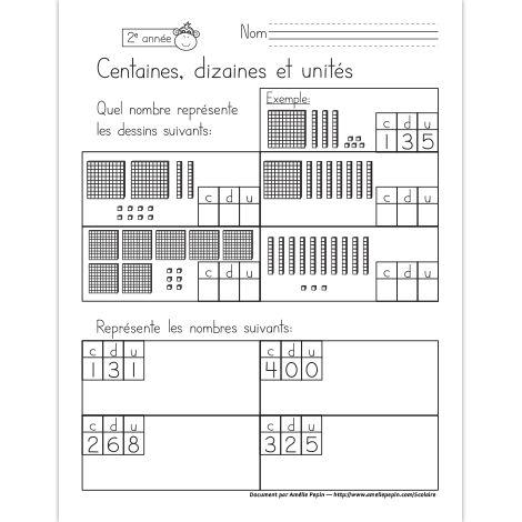 Fichier PDF téléchargeable En noir et blanc seulement 1 page  Dans cet exercice, l'élève trouve les 4 nombres représentés par les dessins et il représente les 4 nombres demandés.