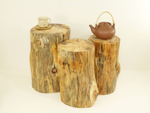 Tree Stumps table tree trunks set rustic tree trunks Baumstumpf baumstamm tisch sgabello ceppo di legno