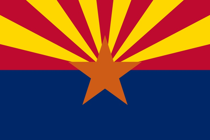"""Arizona state flag (Arizona was admitted to the Union in 1912 - this flag became the official flag of Arizona in 1917).  The 13 gold and red """"beams"""" on Arizona's flag represent the sun setting over the western desert and the original 13 colonies ,The center star signifies copper production (Arizona produces copper). The field of blue is the same """"liberty blue"""" as the United States flag. Blue and """"old gold"""" are also Arizona's official state colors."""