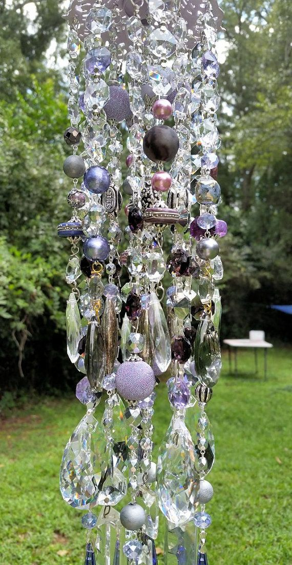 Color of Dusk Antique Crystal Wind Chime by sheriscrystals on Etsy