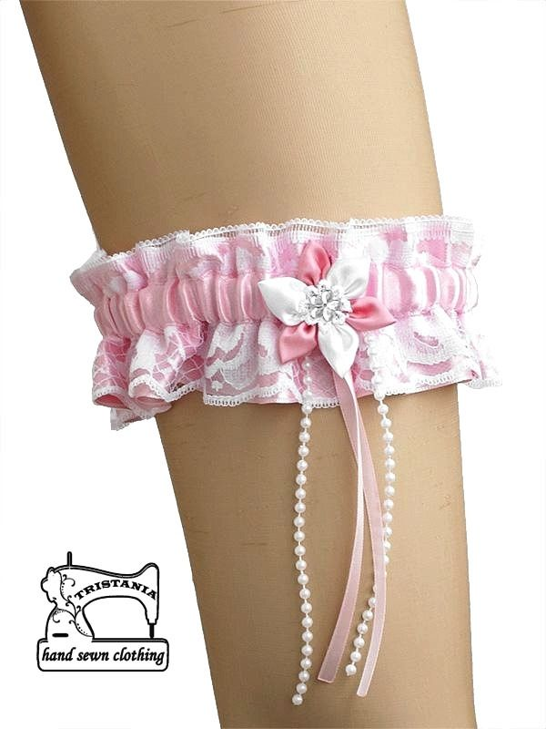 jarretiere en satin et dentelle avec tissu fleur pour mariée de mariage 0095 : Lingerie par burlesque-gothique