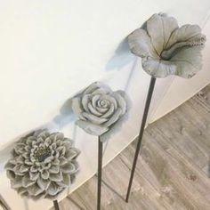 Concrete flowers - one method (painting concrete on silk petals)