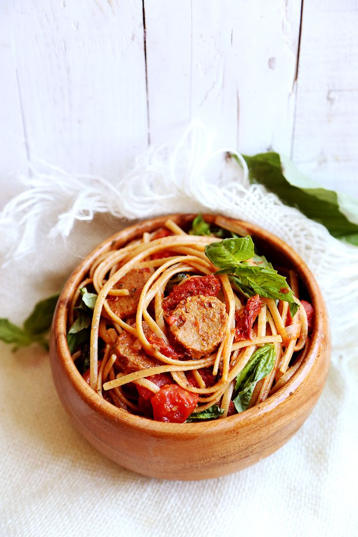 Vegan Sausage Pasta with Sundried Tomatoes and Basil