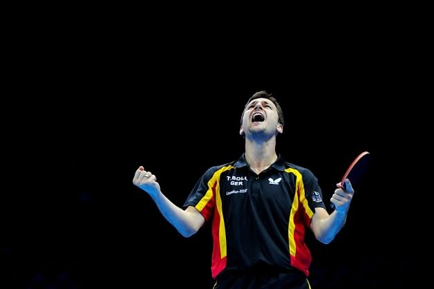 *** BESTPIX *** LONDON, ENGLAND - AUGUST 08:  Timo Boll of Germany celebrates defeating Tianyi Jiang of Hong Kong, China and winning the Men's Team Table Tennis bronze medal match on Day 12 of the London 2012 Olympic Games at ExCeL on August 8, 2012 in London, England.  (Photo by Michael Regan/Getty Images) Photo: Michael Regan, Getty Images / SF