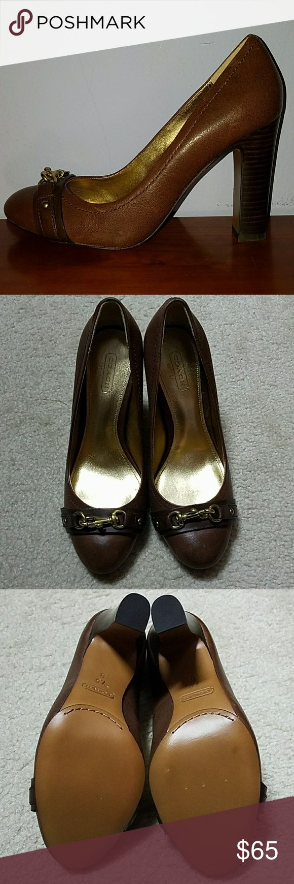 "Coach Brown Closed Toe Shoe Brand new Coach Brown closed toe 3.5"" heel with gold accent buckle. Coach Shoes Heels"