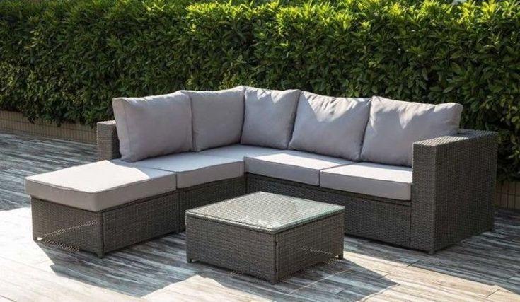 Rattan Garden Furniture Set Corner Sofa Grey Oudoor Lounge Patio Coffee Table