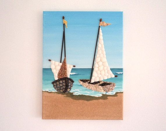 Acrylic Painting, Beach Artwork with Seashells & Sand, Two Sailboats in Seashell Mosaic on Sand, Mosaic Art, 3D Art Collage, Wall Decor, Home Decor #ArtworkwithSeashells #mosaiccollage #seashellmosaic #homedecor #walldecor #3D