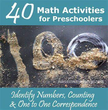 40 ways of learning numbers, counting and one to one correspondence for preschoolers.: Preschool Activities, Good Ideas, Preschool Math, Early Learning, Homeschool Preschool, 40 Math, Learning Numbers Counting, Math Activities, Learning Activities
