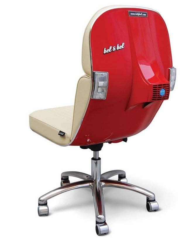 This Is The Genuine Vespa Italian Scooter Reborn As A Fully Functioning  Office Swivel Chair.