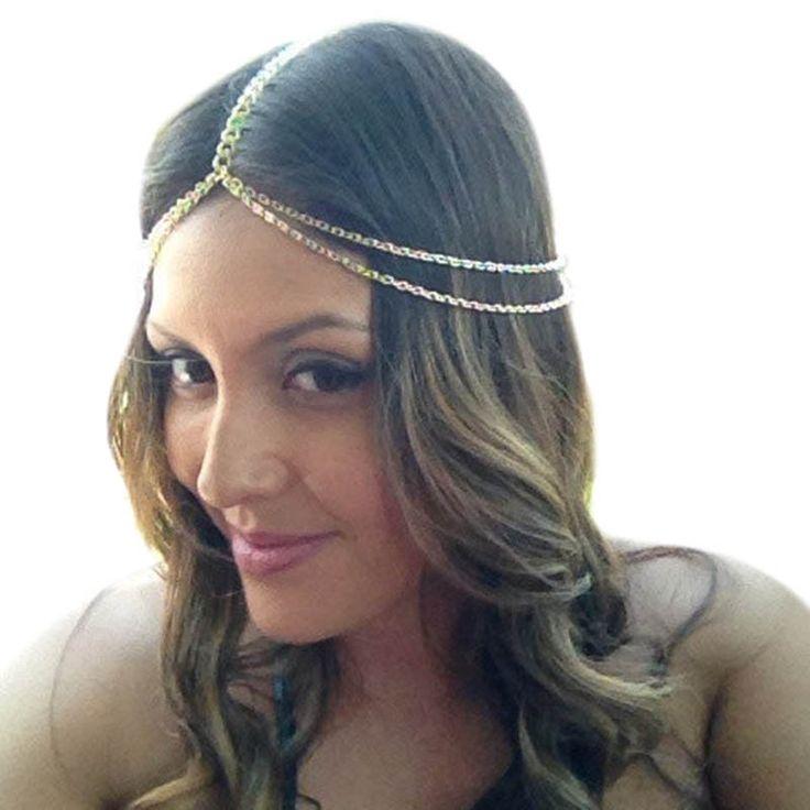 2016 Fashion Gold Head Chain Pieces Women Boho Headpiece Headband Metal Chain Hair Head Wrap alloy Hair Jewelry Wholesale T020